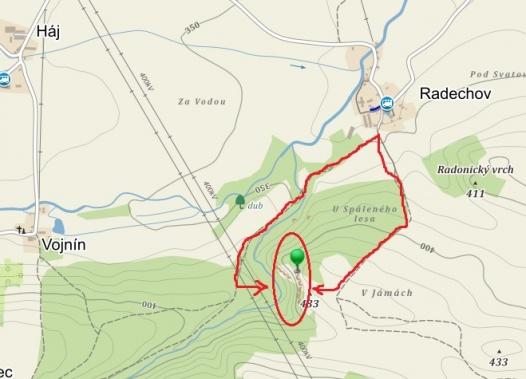 Radechovské skály mapa
